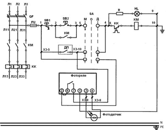 схема ящика управления освещением